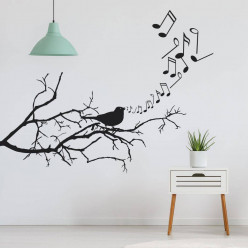 Stickers branche oiseau music