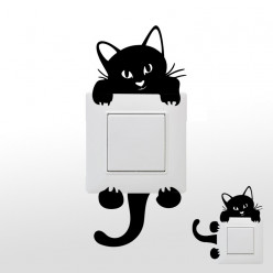 Stickers chat pour prises et interrupteurs
