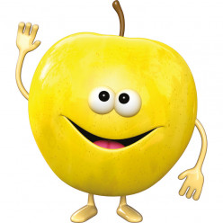 Stickers effet 3D- Pomme jaune