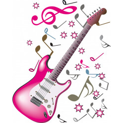 Stickers guitare notes de musique
