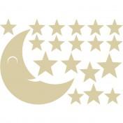 Stickers Lune Etoiles Beige 40x57 cm le kit x 4