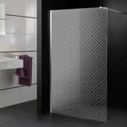 Stickers paroi de douche dépoli multicarrés 3
