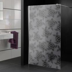 Stickers paroi de douche dépoli tortue