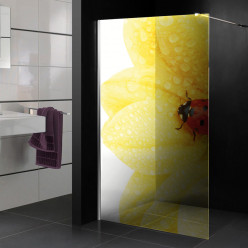 Stickers Paroi de douche semi translucide fleur coccinelle