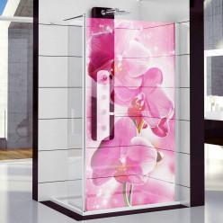 Stickers Paroi de douche semi translucide orchidée