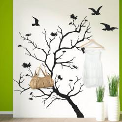 Stickers porte manteau arbre oiseaux