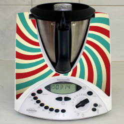 Stickers Thermomix TM 31 Rayé turquoise et rouge