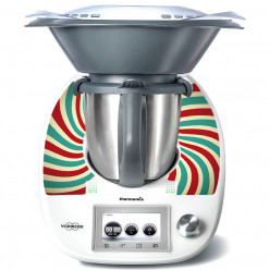 Stickers Thermomix TM 5 Rayé turquoise et rouge