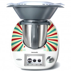Stickers Thermomix TM 5 Rayé turquoise et rouge 2