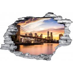 Stickers Trompe l'oeil 3D Pont De Brooklyn