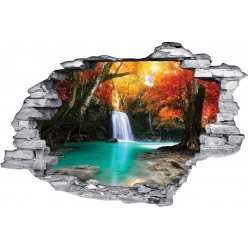 Stickers Trompe l'oeil 3D Cascade Automne