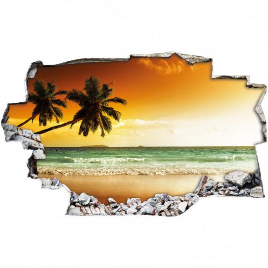 Stickers Trompe l'oeil 3D - couché de soleil mer 4