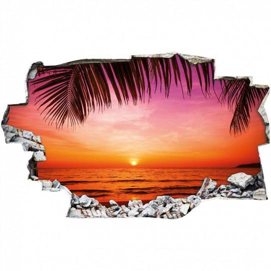 Stickers Trompe l'oeil 3D - Couché de soleil palmiers 2