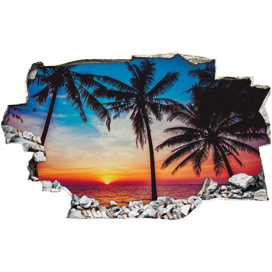 Stickers Trompe l'oeil 3D - Couché de soleil palmiers