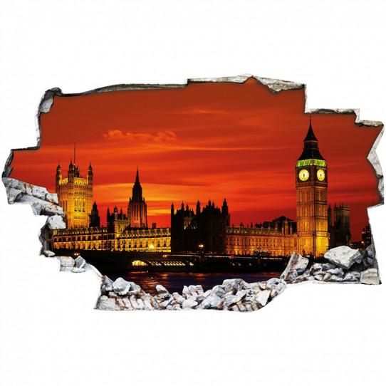 Stickers Trompe l'oeil 3D - Londres nuit