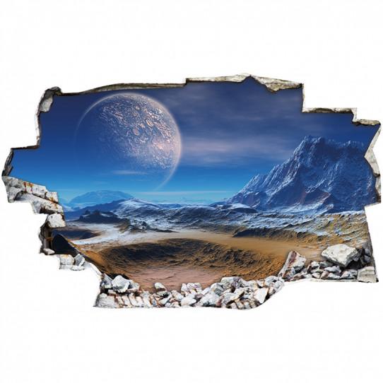 Stickers Trompe l'oeil 3D - Lune 4