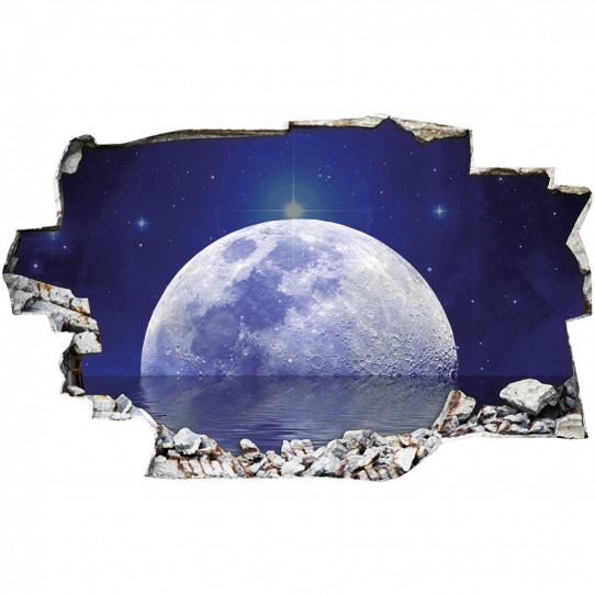 Stickers Trompe l'oeil 3D - Lune 6