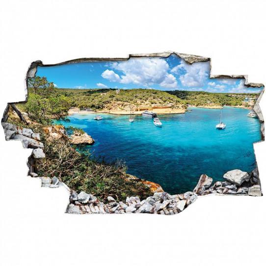 Stickers Trompe l'oeil 3D - Mer bateaux