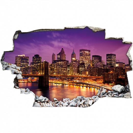 Stickers Trompe l'oeil 3D - New york nuit 3