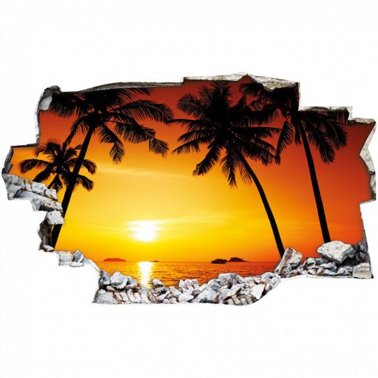 Stickers Trompe l'oeil 3D - Sunshine palmiers