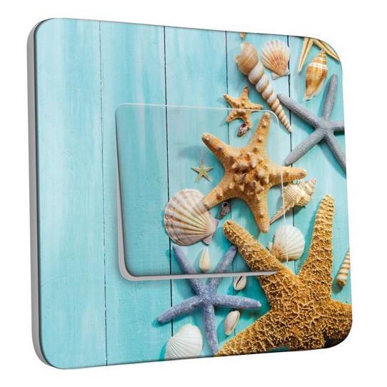 Interrupteur Décoré Poussoir Coquillages Etoiles de mer