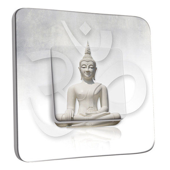 Interrupteur Décoré Simple Bouddha Zen Blanc