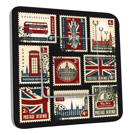 Interrupteur Décoré Simple London Timbres postales