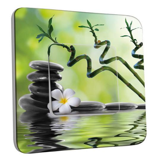 Interrupteur Décoré Simple Nature-Pierres,Bambou Fleur 5