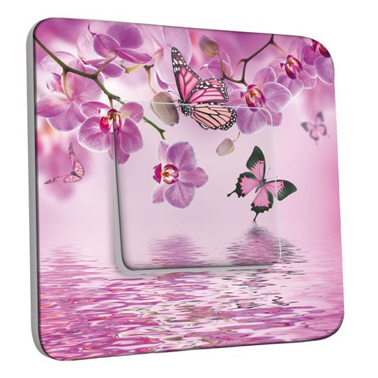 Interrupteur Décoré Simple Papillons Orchidées 10
