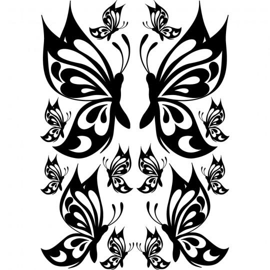 Kit 14 stickers papillon
