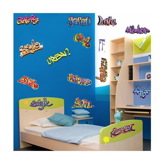 kit 15 stickers graffitis