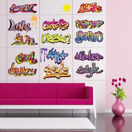 Autocollant Stickers muraux ado kit 15 graffitis