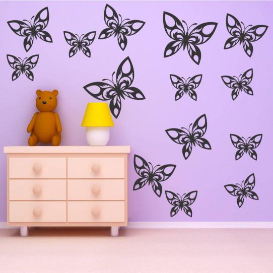 Kit 16 stickers papillon