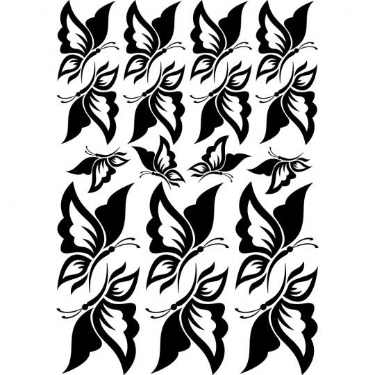 Kit 18 stickers papillon