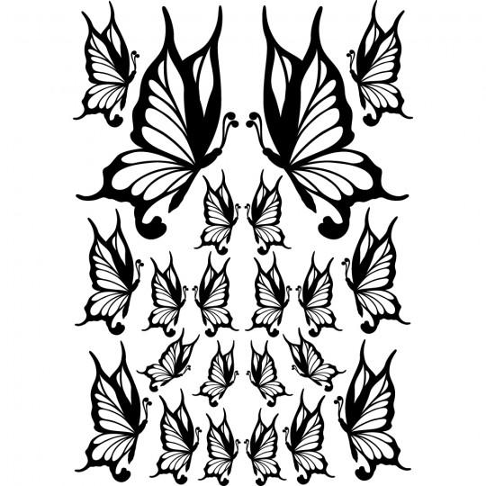Kit 22 stickers papillon