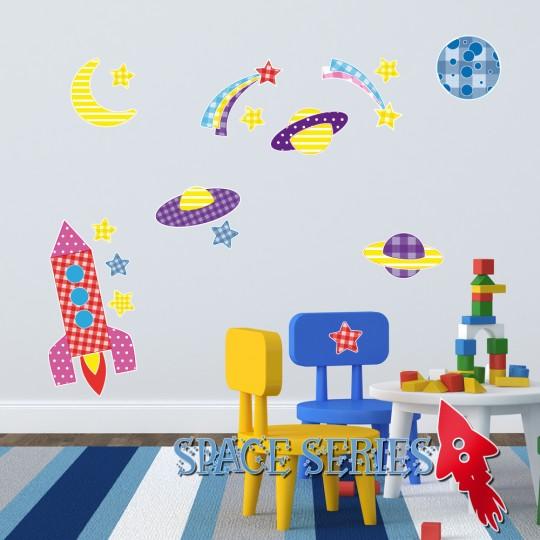 Autocollant Stickers mural enfant kit 9 accesssoires espace