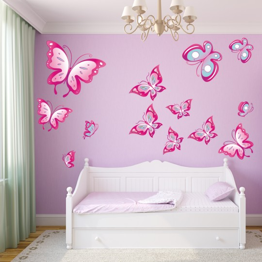 Autocollant Stickers muraux enfant kit 13 papillons