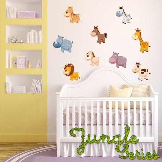 Autocollant Stickers mural enfant kit 9 animaux