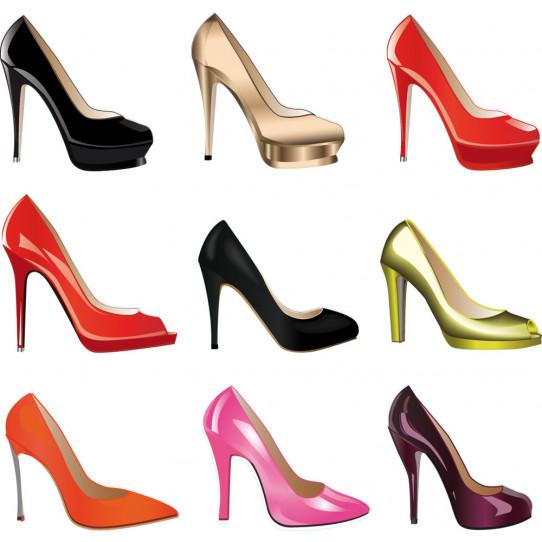 Autocollant Stickers ado kit 9 chaussures talon