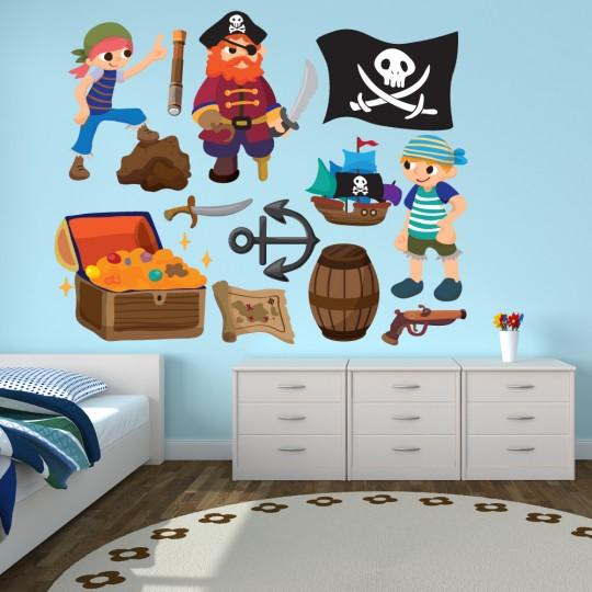 Autocollant Stickers muraux enfant kit 3 pirates et accessoires