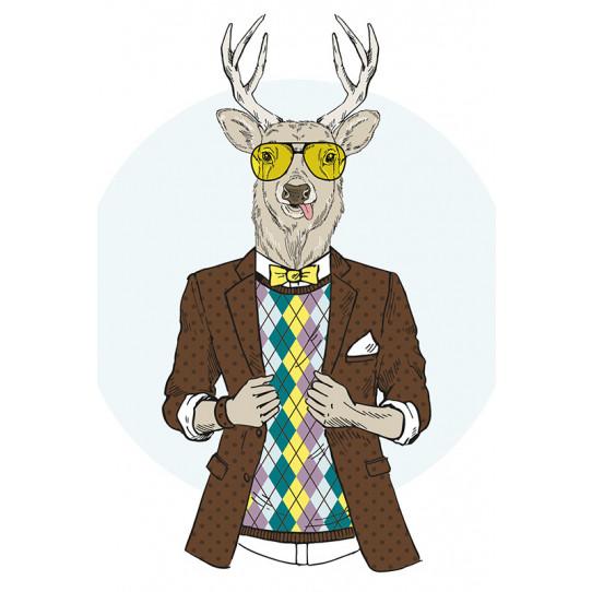 Poster - Affiche cerf hipster