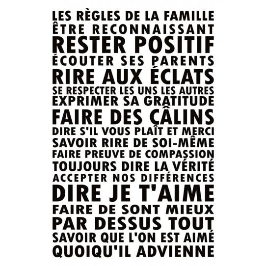 Poster - Affiche citation les règles de la famille