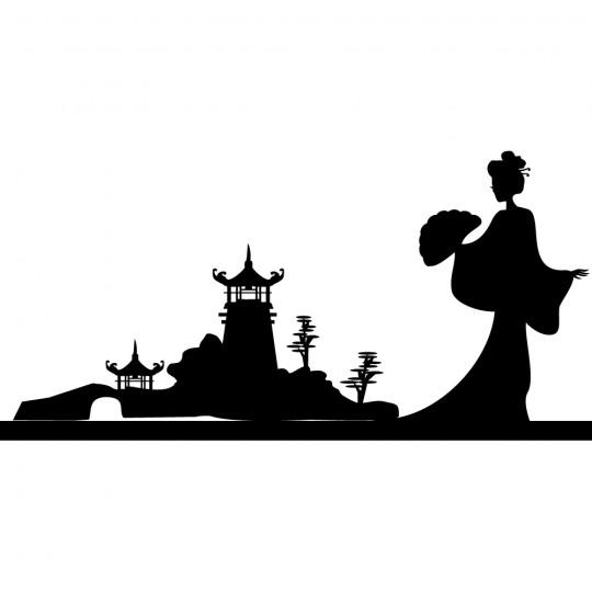 Stickers asie geisha