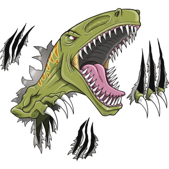 Autocollant Stickers enfant attaque dinosaure