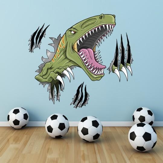 Autocollant Stickers mural enfant attaque dinosaure