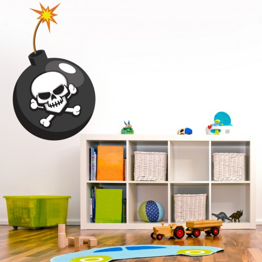 Autocollant Stickers mural enfant bombe pirate