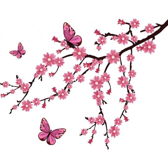 Autocollant Stickers branche papillons