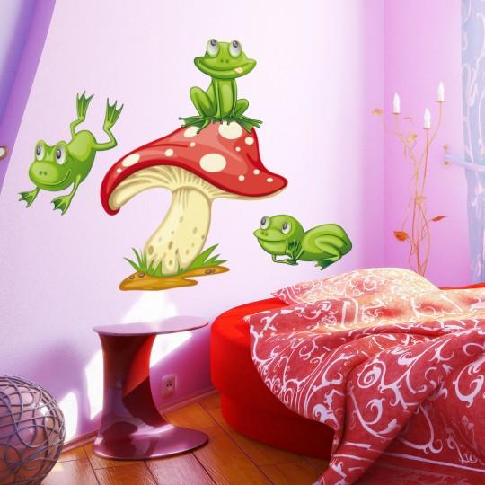 Autocollant Stickers mural enfant champignon grenouille