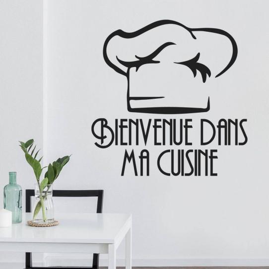 Stickers citation bienvenue dans ma cuisine