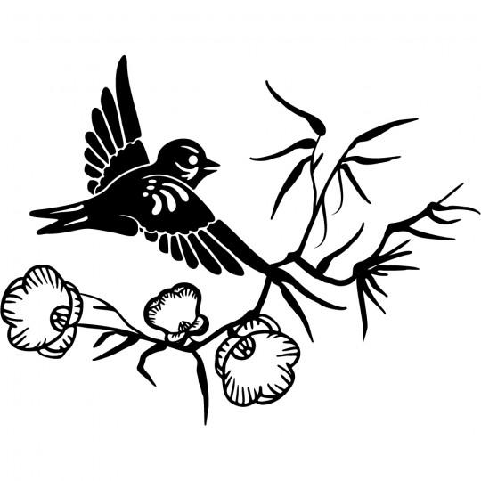 Stickers fleur oiseau asie